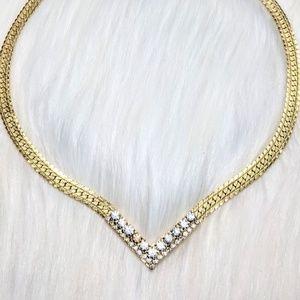 Jewelry - Gold & Rhinestone Flat Snake Choker